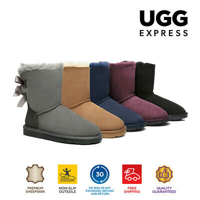 UGG Boots Ladies Bailey Bow Fashion Short Classic, Premium Australian Sheepskin