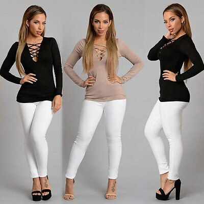 USA Fashion Women's Ladies Loose Tops Long Sleeve Shirt Casual Blouse T-Shirt