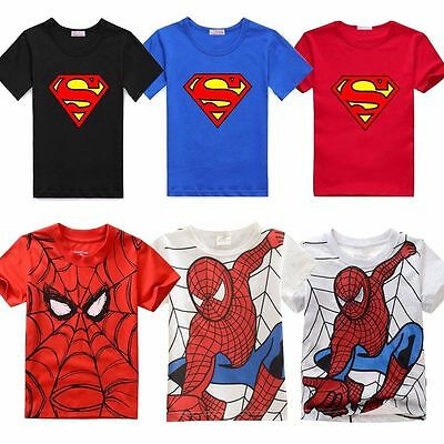 Kids Boys Superman Spiderman T-Shirt Summer Short Sleeve Tee Shirt Children