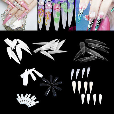10/50/500pcs White Natural Transparent Acrylic UV Gel French False Nail Art Tip