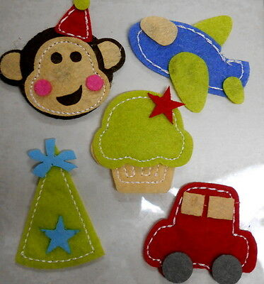 Colourful Stitched 3D FELT STICKERS  - Scrapbooking - Cardmaking - Papercrafts