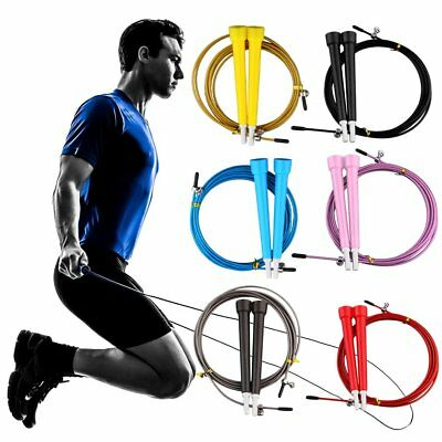 ~Fitness Adjustable Speed Skipping Jumping Rope Boxing Gym CrossFit Steel Cable#