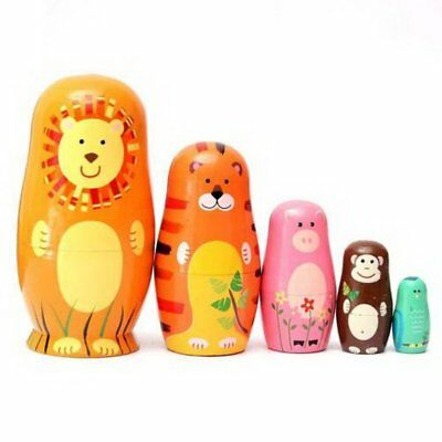 Set of 5pcs Cute Wooden Nesting Dolls Matryoshka Animal Russian Doll  GiftsUK