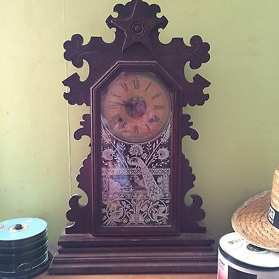 Antique victorian 1880's Ansonia oak Gingerbread striking clock working and key
