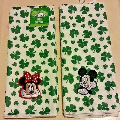 Mickey Minnie Mouse St Patrick's Day Good Luck Clover Decoration Dish Towels #2
