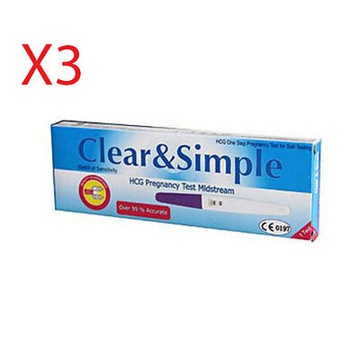 Clear & Simple Pregnancy Test Kit x3