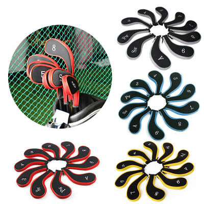 10pcs Neoprene Padded Golf Club Iron Headcovers Head Cover Protect Case Set Hot