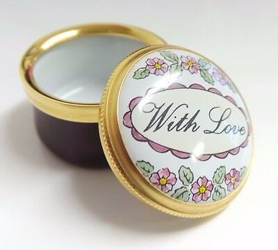 Crummles Enamelled Pill / Trinket Box 'With Love' Dia 2.8 cm Mothers Day Easter