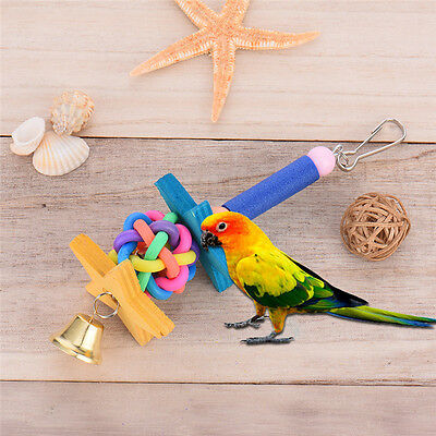 Bird Bites Parrot Climb Chew Toy Bell Swing Cage Hanging Rope Cockatiel Parakee