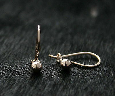 585/14ct Russian Rose Gold Ball 3.5mm Hook Earrings Gift Boxed