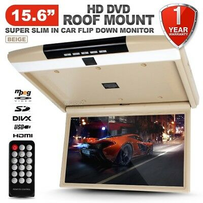 "NEW 15.6"" HD TFT LCD SD HDMI USB Beige Roof Mount Overhead DVD Flip Down Monitor"
