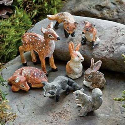 Miniature Dollhouse FAIRY GARDEN - Forest Animal Friends Set of 8 - Accessories