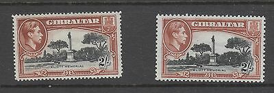 Gibraltar ,  1938 2/- Shilling X 2 Perf 13 And Perf 14  Mh