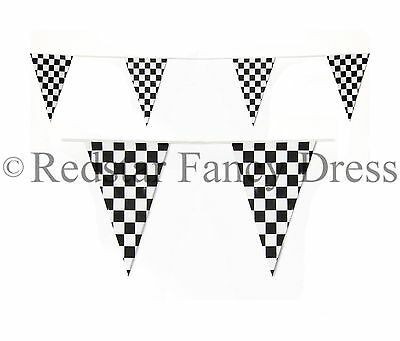 BLACK & WHITE CHEQUERED BUNTING FLAG 30CM x 20CM F1 RACING BANNER CHOOSE LENGTH
