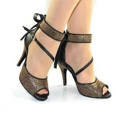 Women's Dance Shoes Heel 8.5cm Gold Net Latin Chacha Ballroom Salsa Tango Modern