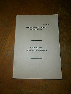 British Rail Record of First Aid Rendered book