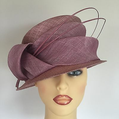 Ladies Wedding Races Mother Bride Ascot Hat Dusty Pink Two Tone by Failsworth
