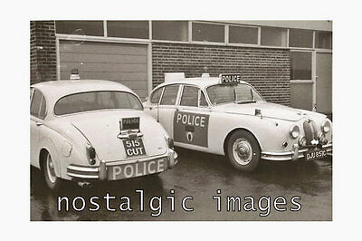 PHOTO TAKEN FROM A 1960's IMAGE OF LEICESTER & RUTLAND JAGUAR POLICE CARS