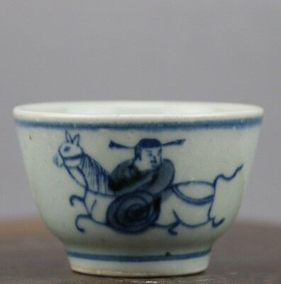 old chinese rare collect Ming dyn Wanli blue and white porcelain tea cup 001