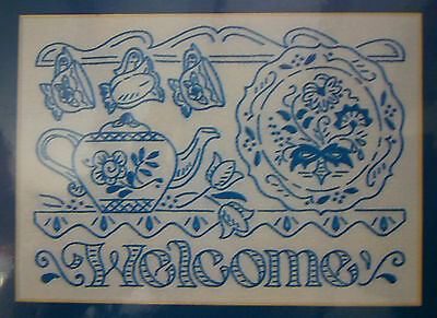 """Bucilla Xpressions Embroidery """"Welcome"""" Bluework Kit New Craft"""