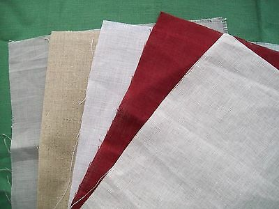 28 ct. Linen Cross stitch Fabric - assorted colours for small / medium projects