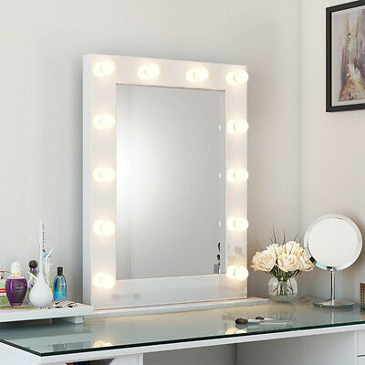 Diamond X Collection High Gloss Tall LED Hollywood Mirror (White) 113