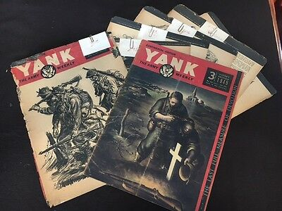 Lot of 7 Yank Magazine Excerpts WWII US Army Military Continental Victory 1945