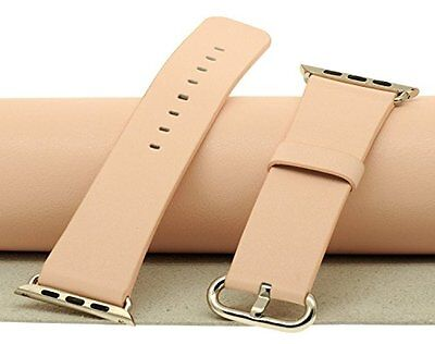 Apple Watch iwatch Band Strap 38mm Genuine Leather Loop Wrist Beige Pink