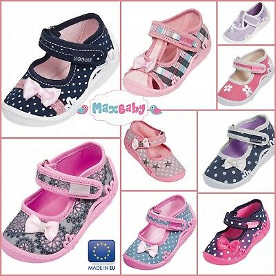Slippers for Girls Infant Nursery Shoes Kids Canvas LEATHER Insole Size 2–8