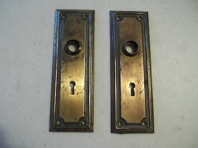 2 Mission Style Early 1900's Door Knob Backplates, Free S/H