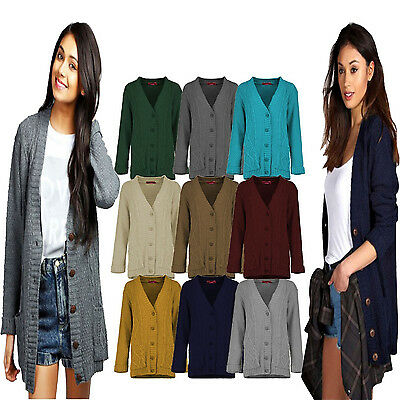 New Ladies Knitted Loose Boyfriend DAISY Button Cardigan Sweater Jumper Coat TOP