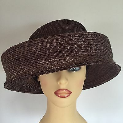 Ladies Wedding Races Mother Bride Ascot Hat Brown by Seeberger Germany