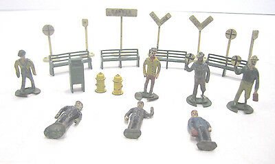 Vintage  Model Railroad Layout Lead Figures Lot Benches Signs O-S Scale