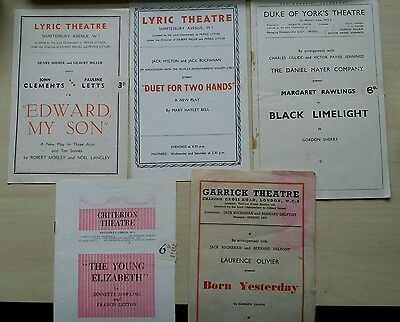Job lot of 5 London Theatre Programmes, 1930s to 1960s, Laurence Olivier