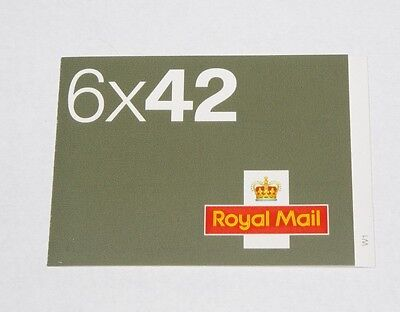 GB 2002 6 x 42p Airmail Worldwide Postcard Barcode Stamp Booklet