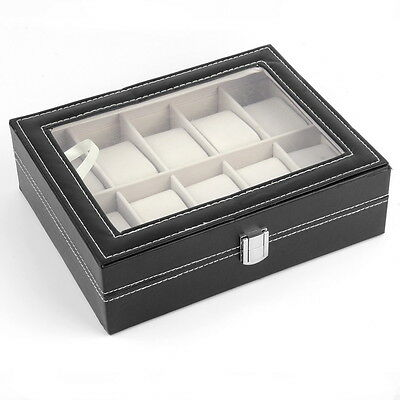 S#6/10 Slots Grid PU Leather Wrist Watch Box Storage Holder Organizer Case