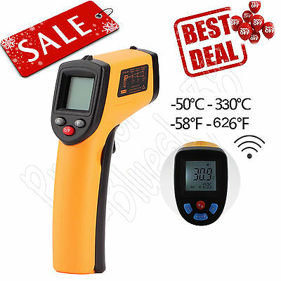 S#Infrared Thermometer Non-Contact Gun Laser IR Point Digital LCD Temperature&W