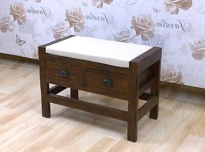 Window Seat Storage Bench With Cushion Drawers Wooden Ottoman Foot Stool Room