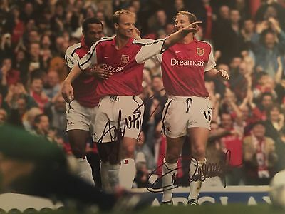 Dennis Bergkamp Thierry Henry Arsenal Original Hand Signed Photo 12x8 With COA