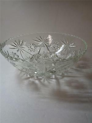 Large Pressed Glass Patterned 10.75 inch Dia Bowl with saw toothed Rim