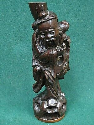 Antique Japanese Wood Carved Figure Immortal Lamp Base