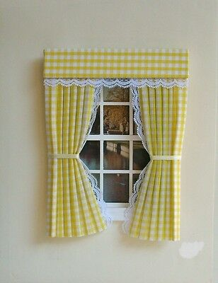 Dolls House Curtains Yellow  Gingham