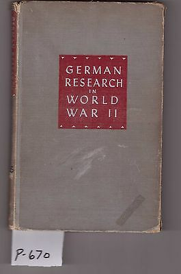 German Research in WW2, Analysis of the Conduct of Research, book, fair cond