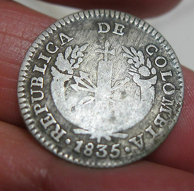 1835 (Colombia) 1 Real (Silver) --Very Scarce----