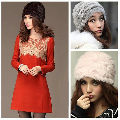 S#Fashion Russian Lady Rabbit Fur Knitted Cap  Women Winter Warm Beanie Hat&W