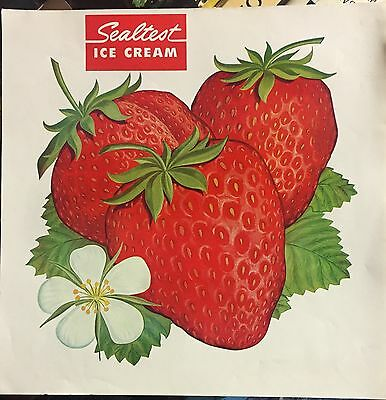 Vintage Sealtest Ice Cream Store Display Beautiful Graphics Strawberry Sign
