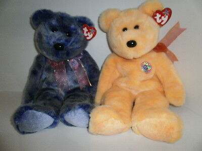 Ty Beanie Buddy Bears, Sunny and Periwinkle, with hang tags