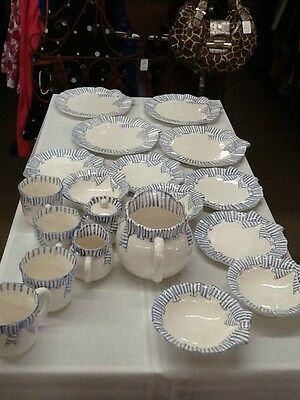 The Haldon Group 1989 Blue & White Stripe Bow Dinnerware Tea Service 20 pc Set