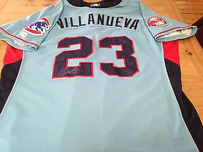 Chicago Cubs Prospect TN Smokies Christian Villanueva Game Used Signed Jersey