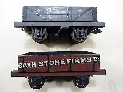 Two Vintage One Gauge Wooden Train Waggons Bassett Lowe .leeds Bath Stone Firms